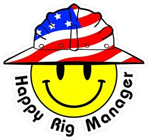 3 Happy Rig Manager Smiley Usa Hardhat Oilfield Helmet Toolbox Sticker H886
