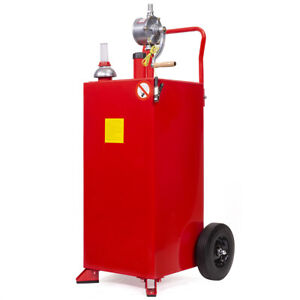 Pro 30 Gallon Gas Fuel Diesel Caddy Transfer Tank Container W Rotary Pump Auto