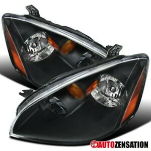 For 2002 2004 Nissan Altima Pair Black Clear Headlights Head Lamps Left right