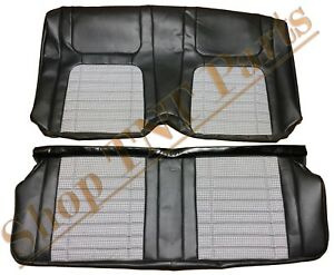 1968 Camaro Seat Covers Coupe Deluxe Rear Black Cloth Houndstooth Replacements