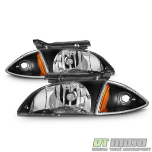 Black 2000 2002 Chevy Cavalier Headlights corner Lamps 4 Pcs 00 01 02 Left right