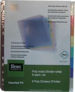 Filexec 30207 Index Binder 8 Tabs Colored Pink Clear Smoke Purple Blue 8