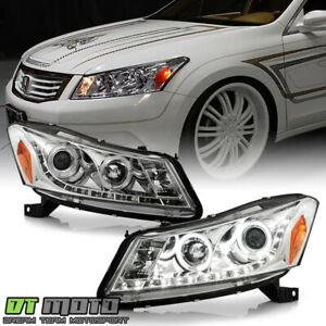 For 2008 2012 Honda Accord Sedan Projector Headlights W led Drl Running Lights