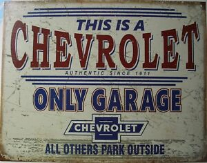 Tin Metal Sign Chevrolet Only Garage Park Power Parking Chevy Bowtie Ss Gm 2200