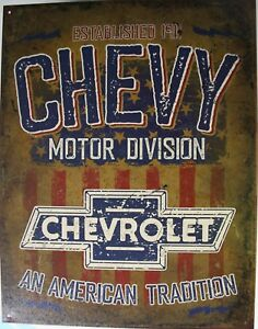 Tin Metal Sign Chevrolet Motor Division Park Power Parking Chevy Bowtie Gm 2204