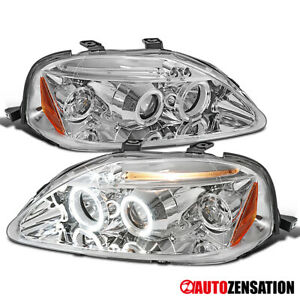 For 1999 2000 Honda Civic Clear Led Drl Halo Rims Projector Headlights Lamps