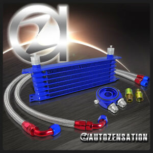 7 Row 10an Engine Transmission Oil Cooler Blue M20 Sandwich Adaptor Hose Kit
