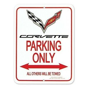 C7 Corvette Parking Only Sign Crossed Flags Logo 9 X 12