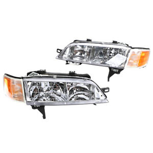 Headlights Headlamps For 1994 1997 Honda Accord Ex Dx Lx Se Chrome Housing Clear