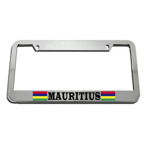 License Plate Frame Mauritius Flag Country Zinc Weatherproof Car Accessories