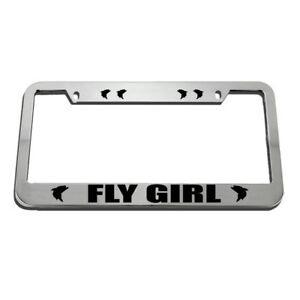 License Plate Frame Fly Girl Fish Fishing Zinc Weatherproof Car Accessories
