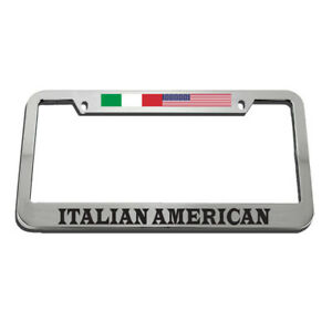License Plate Frame Italian American Zinc Weatherproof Car Accessories Chrome