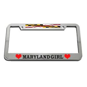 License Plate Frame Maryland Girl Zinc Weatherproof Car Accessories Chrome