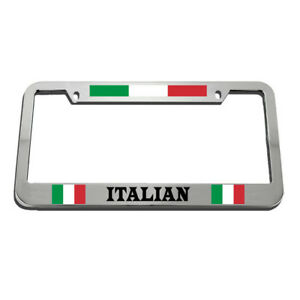 License Plate Frame Italian Zinc Weatherproof Car Accessories Chrome