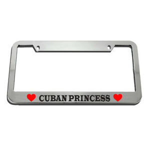 Cuban Princess License Plate Frame Tag Holder