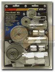 Engine Compartment Dress Up Silver Flex Braid Hose Sleeve Kit And Fittings