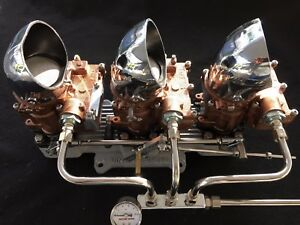 Vintage Speed Roch 3 X 2 Carb To 4 V Adapter Set copper Tri Power Hot Rod