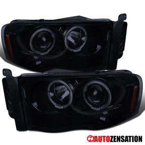 For 2003 2005 Dodge Ram 2500 3500 Glossy Black Smoke Halo Projector Headlights
