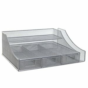 Silver Wire Mesh Metal Office Desktop Organizer Document Tray File Storage 3
