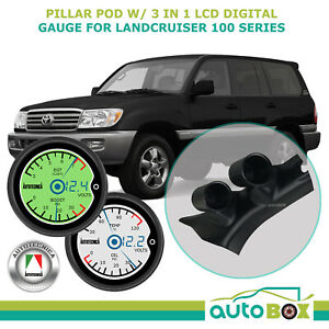Toyota Landcruiser 100 Series 1998 07 Pillar Pod W 3in1 Lcd Digital Twin Gauges