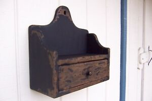 Primitive Rustic Painted Shelf Wall Candle Holder Mail Box Sconce Spice Salt