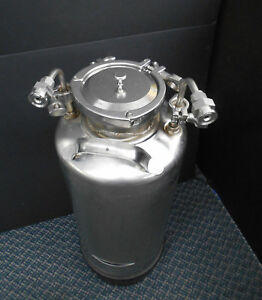 Millipore Alloy Products T316 20 Liter Pressure Vessel Tank W clamps And Fitting
