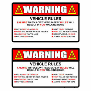 X2 Warning Rules Decal Sticker Funny For Jeep Jdm Car Truck Suv 5