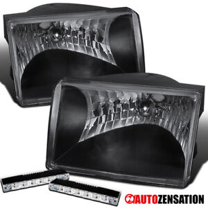 Jeep 93 98 Grand Cherokee Euro Black Clear Diamond Headlights 6 led Fog Lamps