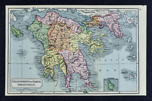 1908 Classical Map Ancient Greece Peloponnesus Attica Athens Sparata Corinth