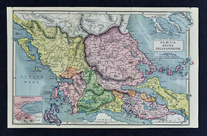 1908 Classical Map Ancient Greece Extra Peloponnesum Thermopyle Delphi Thessaly