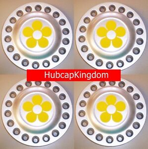 1998 2005 Vw Beetle Bug Wheel Center Caps Set Of 4 With Yellow Daisy Flowers