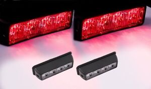 2pcs 4led Emergency Security Dash Deck Grille Flash Strobe Warning Light Red