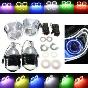 2 5 Car Bi Xenon Hid Projector Headlight Conversion Kit Angel Eyes Halo Bulbs