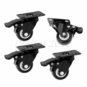 Furniture Shopping Carts Hand Trolley Tool Plate Caster Wheels With Brake 2 Inch