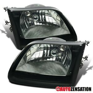For 1997 2003 Ford F150 Expedition Smoke Lens Headlights Lamps Pair Left right