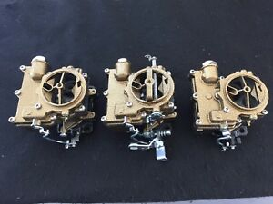Vintage Speed Rochester 2g 3 X 2 Carb Set In Gold Vein Tri Power Hot Rod