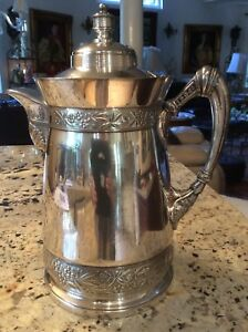 Antique 1872 Simpson Hall Miller Silver Plate Double Walled Ice Pitcher 387