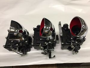 Vintage Speed Rochester 2g 3 X 2 Carb Set In Satin Black Tri Power Hot Rod
