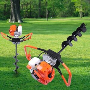 52cc 2 2hp Powered Gas Post Hole Digger Earth Digger Auger W 10 Bits Drill Sw
