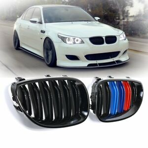 For 2003 2010 Bmw E60 E61 5 Series Gloss Black M color Front Kidney Grill Grille