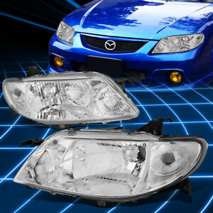 For 01 03 Mazda Protege Chrome Housing Clear Corner Headlight Replacement Lamps