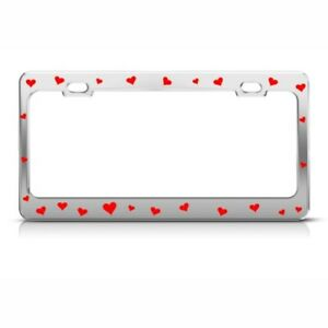 Metal License Plate Frame Red Hearts Love Car Accessories Chrome