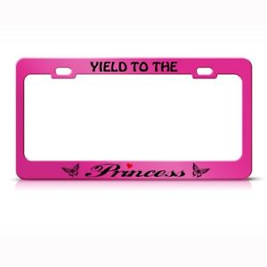 License Plate Frame Yield To Princess Butterfly Metal Car Accessories Chrome