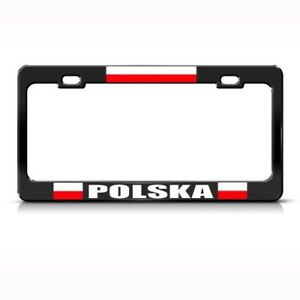 Poland Polish Flag Country Metal License Plate Frame Tag Holder Two Holes