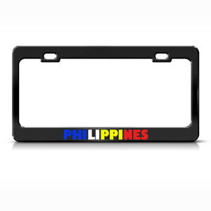 Philippines Flag Country Metal License Plate Frame Tag Holder Two Holes