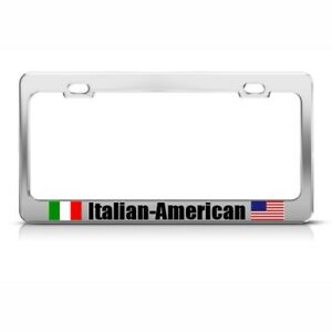 Italian American Italy Country Metal License Plate Frame Tag Holder Two Holes