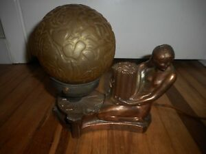 Vintage Art Deco Art Nouveau Nude Figural Lady Table Desk Lamp W Globe Shade