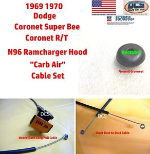 1969 70 Super Bee Coronet R t N96 Ramcharger Hood Cable Set New Mopar