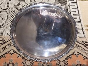R Wallace And Sons Antique Sterling Silver Card Service Tray
