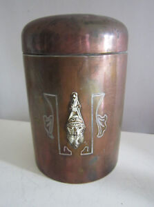 Vintage Art Deco Bronze 6 Etched Covered Jar Signed